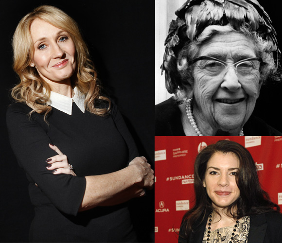 Authors J K Rowling, Agatha Christie and Stephenie Meyer
