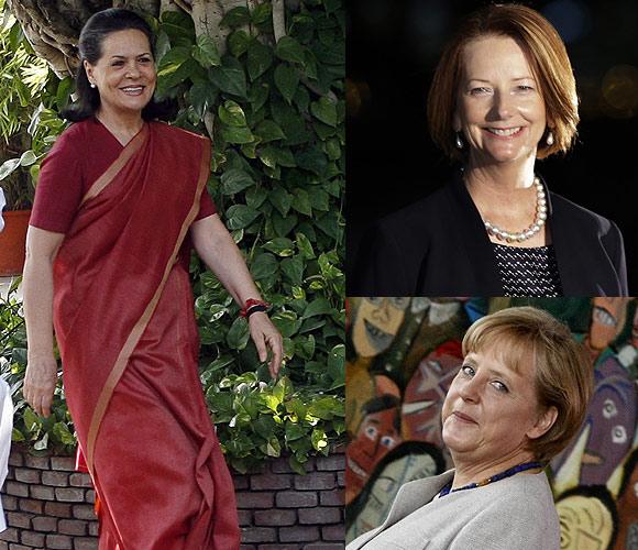 Congress President Sonia Gandhi, Australian PM Julia Gillard, German Chancellor Angela Merkel
