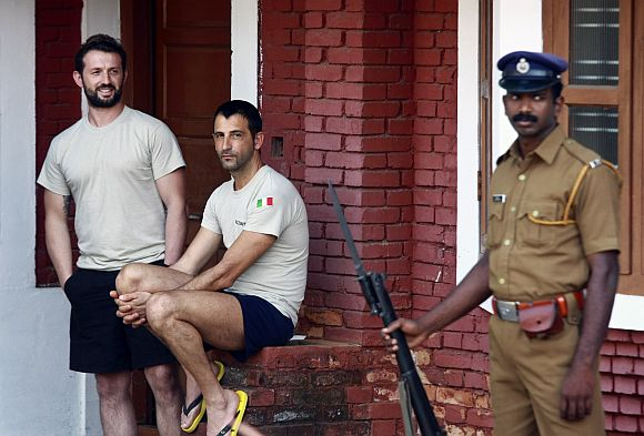 Italian marines Salvatore Girone and Latorre Massimiliano in a CISF guest house in Kochi