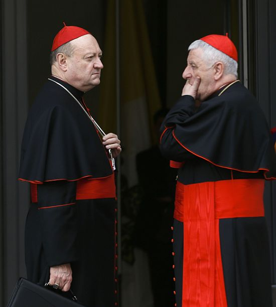 Italian Cardinal Gianfranco Ravasi (L) and Giuseppe Versaldi chat as they arrive for a meeting at the Synod Hall in the Vatican