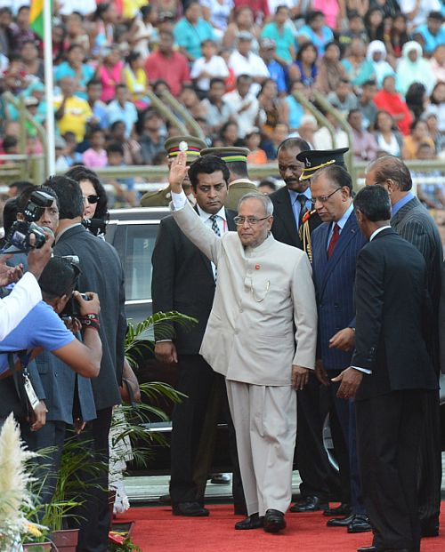 President Pranab Mukherjee arrives at the at the Anjalay stadium in capital Port Louis