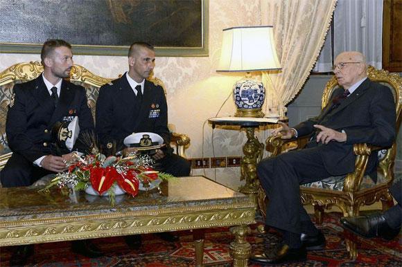 Italian President Giorgio Napolitano meets Salvatore Girone and Massimiliano Latorre at Quirinale presidential palace in Rome