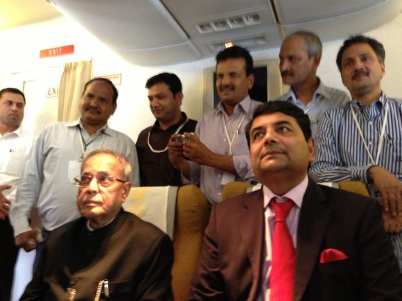 Some of the journalists onboard AirIndia One, with the VIPs