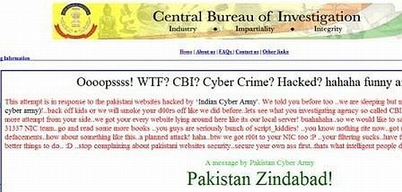 The defaced website of the CBI