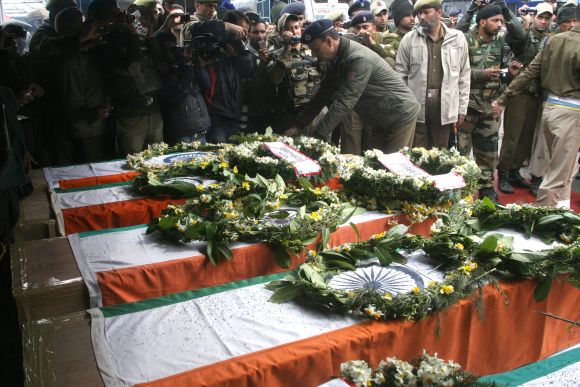 A wreath laying ceremony was held for the five CRPF troopers killed in a fidayeen attack on Wednesday
