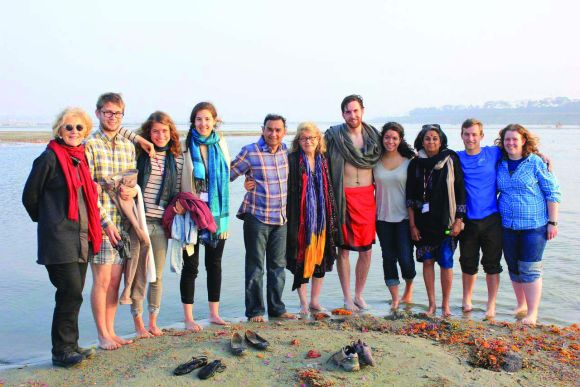 Professor Diana Eck, and members of the team. Like most members of the Harvard team at the Maha Kumbh, she took a dip in the Ganga.