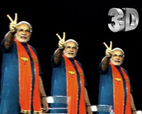 A videograb of Narendra Modi's 3D speeches
