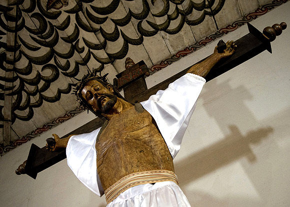 A wooden carving of Jesus Christ is displayed in the Church of San Miguel de Velasco in Santa Cruz, Bolivia. The Jesuits built churches distinguished for their wood carving, painting and music education.