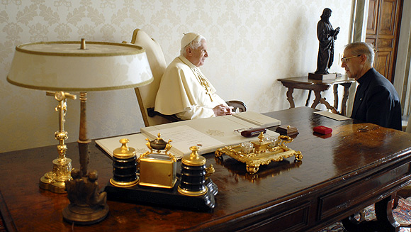 Pope Benedict XVI meets newly-elected Jesuit Superior General Adolfo Nicolas at the Vatican.
