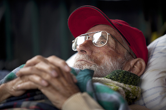 Jesuit priest Jose Maria Korta, 81, on a hunger strike in front of the administrative office of the National Assembly in Venezuela, October 21, 2010. He was demanding the release of Yukpa Casique Sabino Romero, who has been imprisoned for a year since his involvement in a clash between landowners and indigenous people.