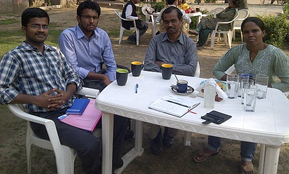 (From right to left) Save Tamils Movement members Parimala, T Amarnath, Pravin Raj and Sa Elangovan