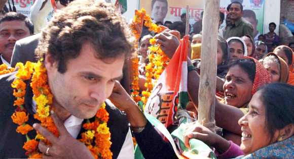 A woman welcomes Rahul Gandhi to Amethi during one of his earlier visits