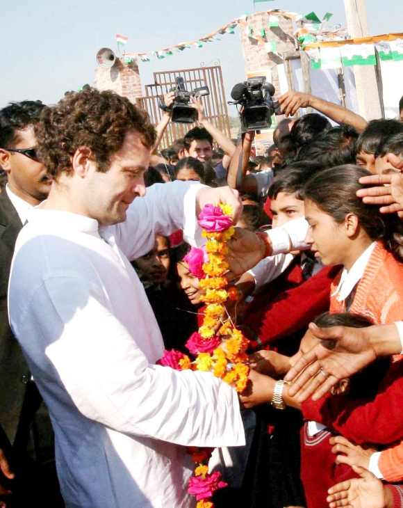 Rahul Gandhi interacts with his supporters in Amethi