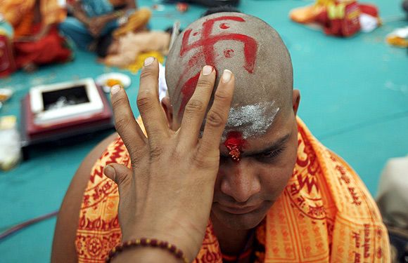 A youth at a religious thread ceremony observed by Brahmins. Photograph used for representational purposes only.