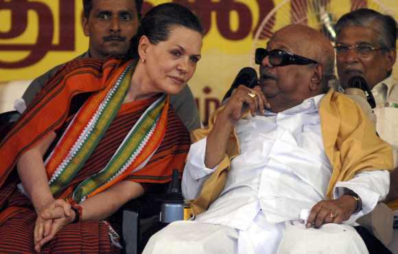 Karunanidhi with UPA chairperson Sonia Gandhi in happier times
