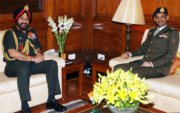 Indian Army chief Bikram Singh meets his counterpart from Singapore in New Delhi