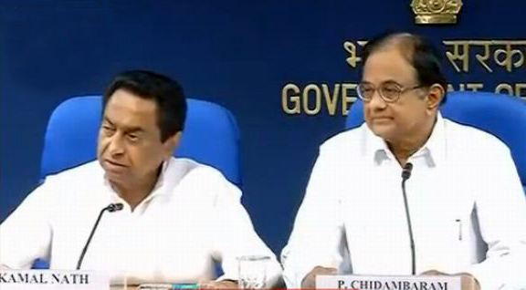 Video grab of Union ministers P Chidambaram and Kamal Nath addressing the media on Wednesday