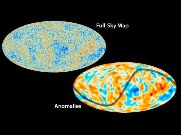 The top map shows Planck's all-sky map of the cosmic microwave background, whereas the bottom map shows the largest-scale features of the map.