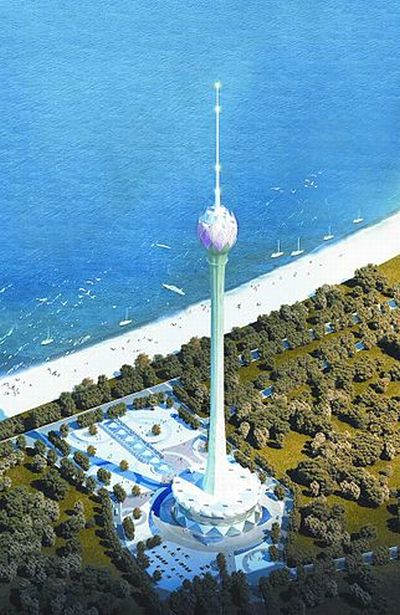 Conceptual drawing of the Lotus Tower in Colombo