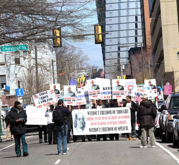Modi supporters protest near the venue of the Wharton Economic Forum in Philadelphia on Saturday