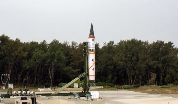 India's nuclear-capable Agni-III missile is seen before its third flight launch system at Wheeler Island, on May 7, 2008.
