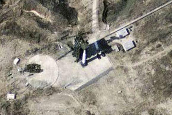 A satellite image of the North Korean missile launch facility at Musudan-Ri