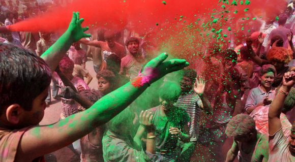 Holi being celebrated on the streets of Guwahati