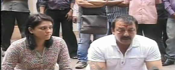 Dutt with sister and Congress MP Priya Dutt at the press briefing in Mumbai