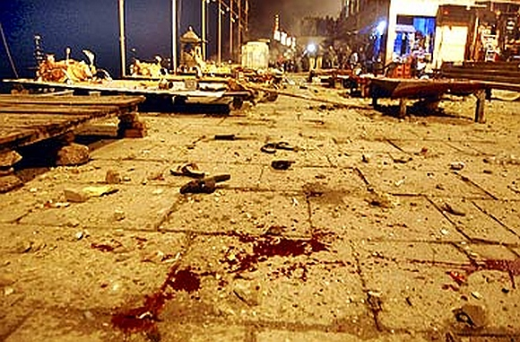 A view of the site of the blast at a Varanasi Ghat