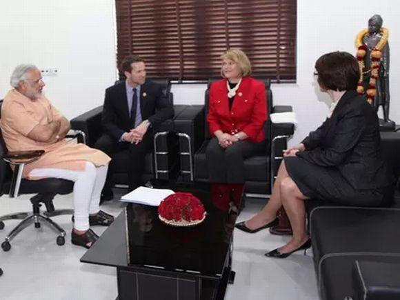 The US Congress delegation with Narendra Modi