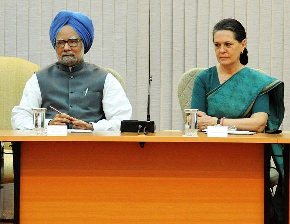Prime Minister Manmohan Singh with Congress president Sonia Gandhi