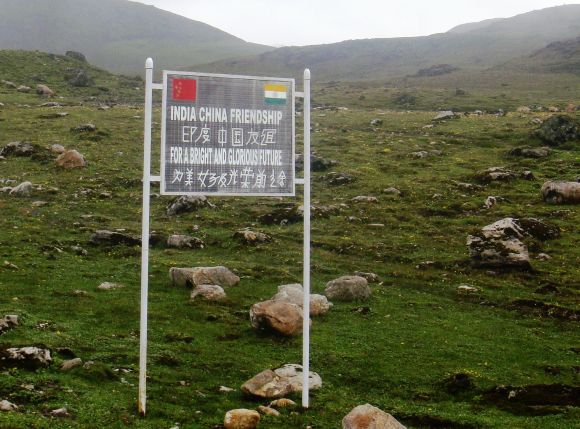 A hoarding along the India-China border at Tawang