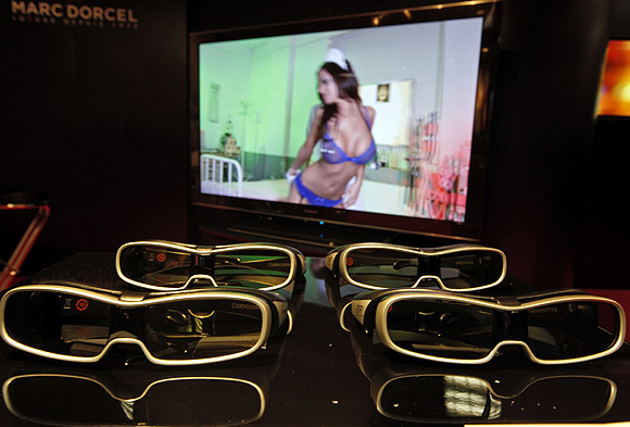 3D glasses are seen at the stand for an adult television programme event in Cannes