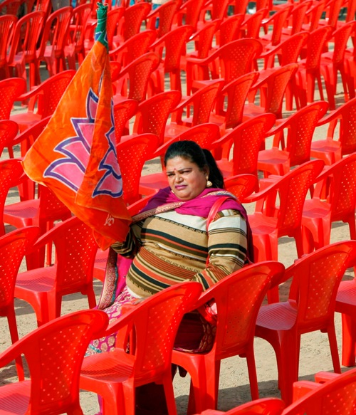 A supporter of the Bharatiya Janata Party waits for a public rally 2010A supporter of the Bharatiya Janata Party waits for a public rally