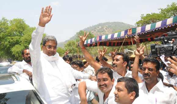 B Siddarmaiah, a strong contender for the Karnataka chief minister's post, after his win