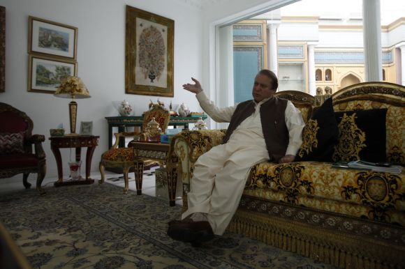 Nawaz Sharif, leader of political party Pakistan Muslim League - Nawaz (PML-N), during an interview with Reuters journalists at his house in Lahore