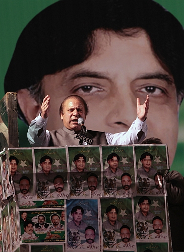 Nawaz Sharif, leader of the political party Pakistan Muslim League - Nawaz, addresses an election campaign rally in Rawalpindi