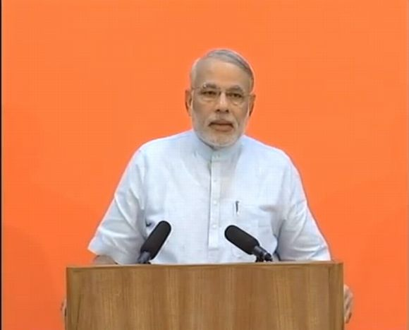 Video grab of Narendra Modi's video conference addressed to Gujaratis across the