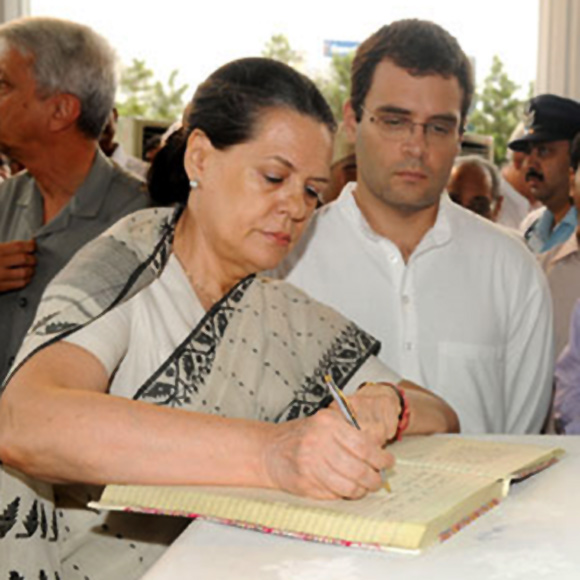 Congress President Sonia Gandhi with son Rahul