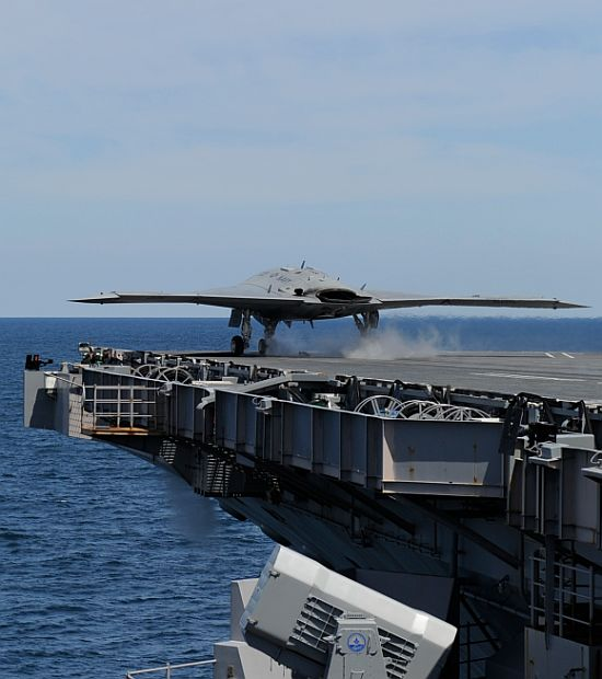 An X-47B Unmanned Combat Air System demonstrator launches from the aircraft carrier USS George H W Bush (CVN 77). George H W Bush is the first aircraft carrier to successfully catapult launch an unmanned aircraft from its flight deck