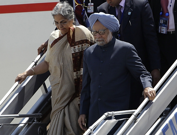 Prime Minister Manmohan Singh with his wife Gursharan Kaur