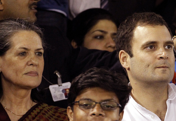 Congress President Sonia Gandhi with son and party vice president Rahul Gandhi
