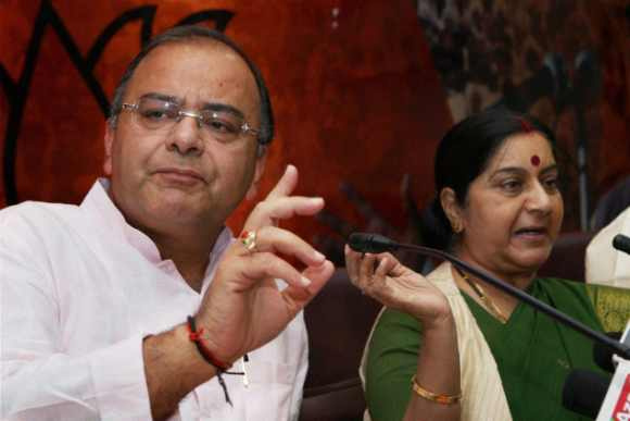 BJP leaders Arun Jaitley and Sushma Swaraj