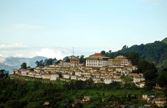 An aerial view shows the Tawang monastery in Arunachal Pradesh