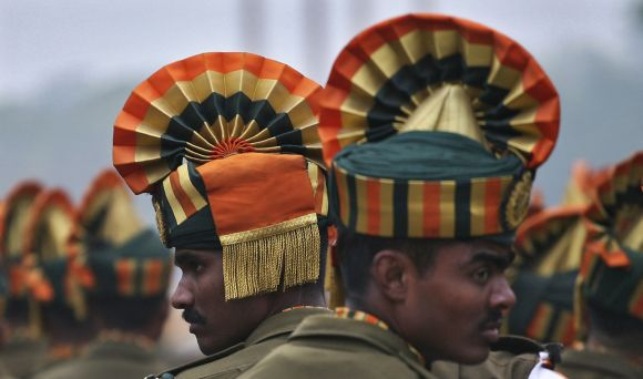 Indo-Tibetan Border Police personnel rehearse for the Republic Day parade in New Delhi.
