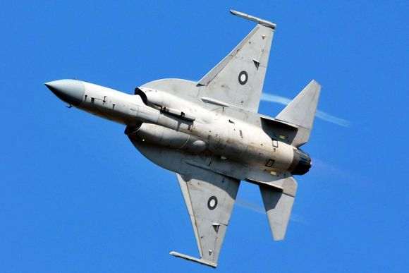 A JF-17 Thunder fighter jet flies past during the Turkey air show