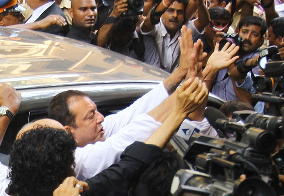 Dutt outside the TADA court in Mumbai