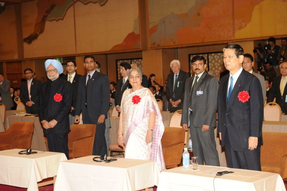 Prime Minister Manmohan Singh and Gursharan Kaur at the reception hosted by the Japan India Association Tuesday