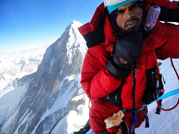 Ashish Mane while scaling 8,516 metre-tall Mt Lhotse