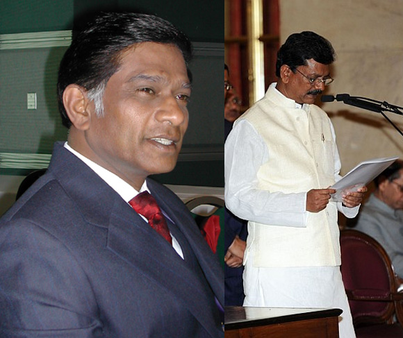 Former Chhattisgarh chief minister Ajit Jogi (left) and Union Minister of State Charan Das Mahant are battling for leadership in the state.